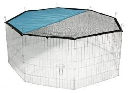 Freilaufgehege von Kerbl mit verzinkten Gittern, Netz und Türe